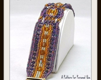 Bead Pattern Ndebele Crystal Cables Herringbone Beaded Bracelet tutorial instructions - by Hannah Rosner
