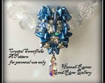 NEW Bead Tutorial - Crystal Snowflake Beaded Bead Tutorial - Advanced Beaded Pendant pattern instructions - Hannah Rosner Designs