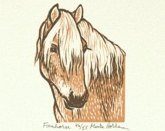 Finnish Horse print, Pony print, Original Linocut