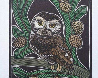 Owl Art, Art Nouveau Print, Hand Printed Wood Engraving