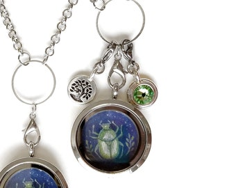Beetle Locket - Beetle Jewelry - Beetle Charm Necklace - Floating Locket Necklace - Mothers day gift - Wearable Art