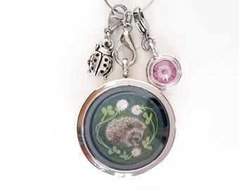 Hedgehog Locket - Hedgehog Jewelry - Hedgehog Charm Necklace - Floating Locket Necklace - Mothers day gift - Wearable Art