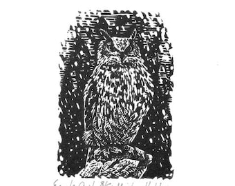 Miniature Owl print - Wood engraving - Owl engraving - Woodlands animal print