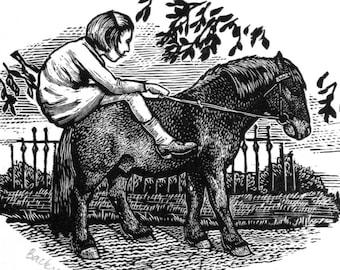 Shetland Pony Art - Original Engraving - Pony Art - Shetland Pony Print - Horse print Equine print
