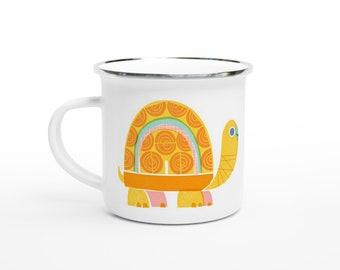 Retro Turtle 12oz Enamel Mug
