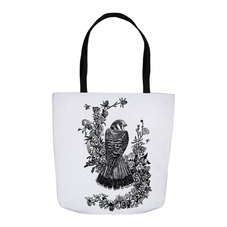 Kestrel In Wildflowers Tote Bags image 0