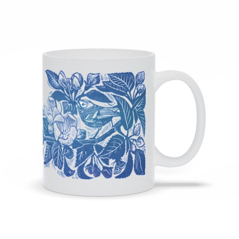 Blue Apple Blossom Mugs  Botanical Cup  Bird Mug  Bird image 0