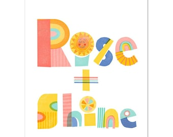 Retro Nordic Style Rise and Shine Poster & Hanger