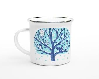 Winter Tree 12oz Enamel Mug - Owl, Squirrel, Birds Enamel Mug