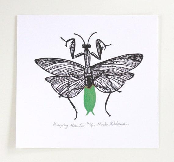 Praying Mantis Lino Cut Original Linoleum Print Insect Etsy