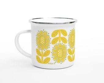 Retro Floral 12oz Enamel Mug
