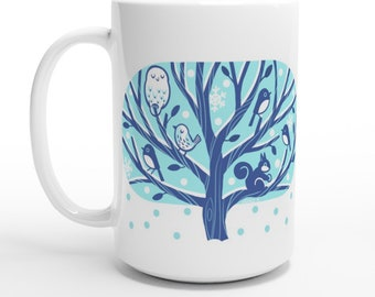 Winter Tree 15oz Ceramic Mug Owl, Squirrel and Bird Cup