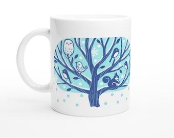 Winter Tree 11oz Ceramic Mug Owl, Squirrel and Bird Cup