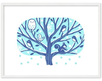 Nordic Style Winter Tree Framed Poster