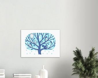 Nordic Winter Tree Print - Tree with Owl, squirrel and Birds - Scandinavian Style