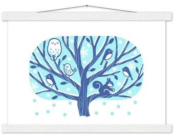 Nordic Style Winter Tree Print & Hanger