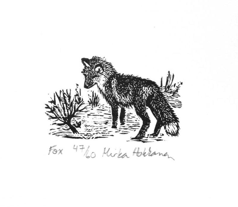 Miniature Fox print  Wood engraving  Fox engraving  image 0