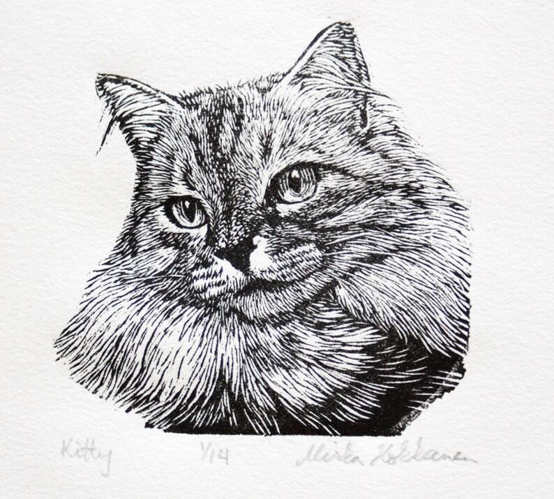 Black and White Cat Art  Engraving  Cat Art  Original Print image 0