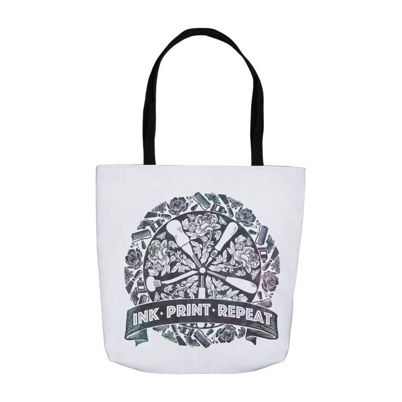 Printmaking Rocks Tote Bag  Ink Print Repeat Linocut Tote image 0