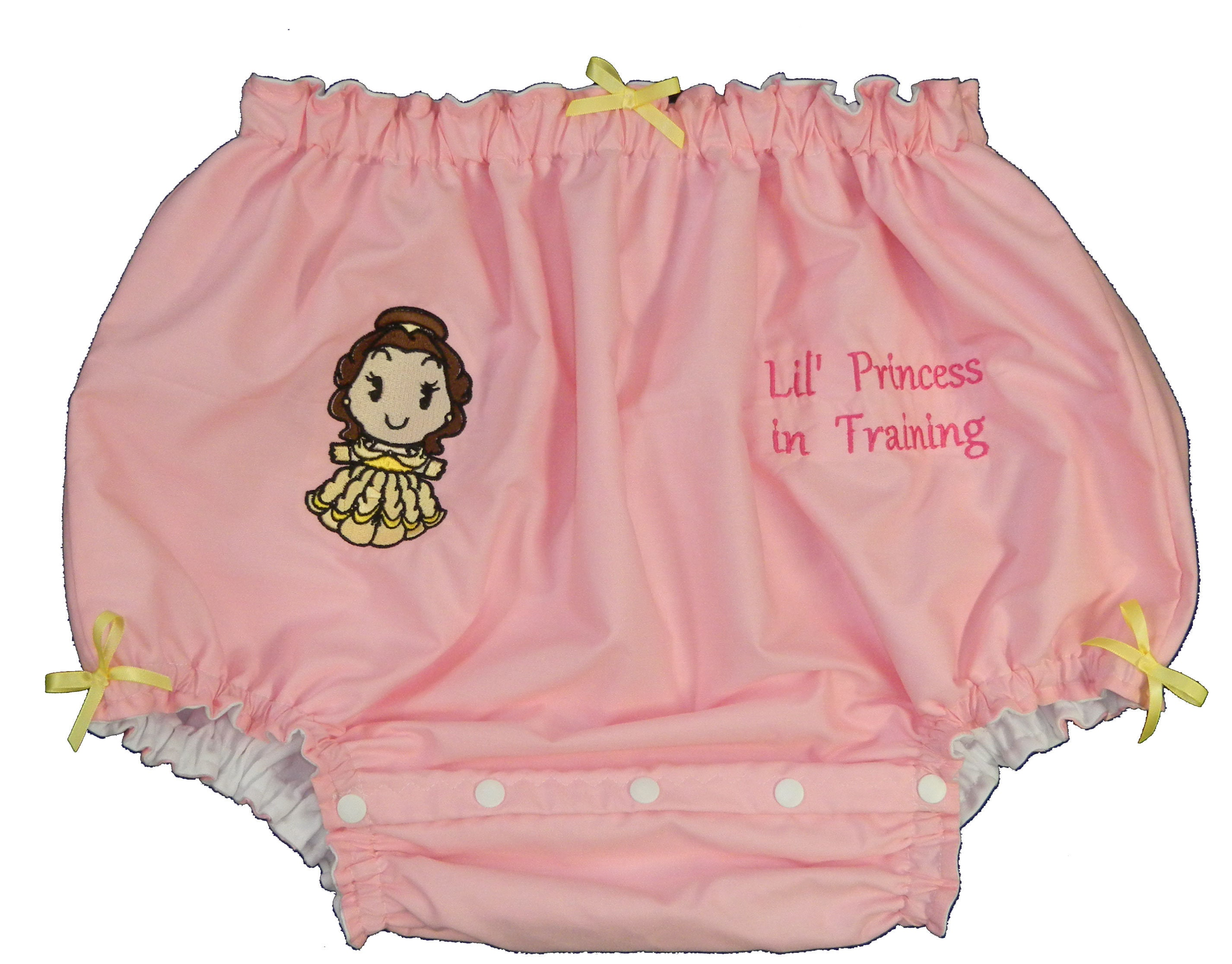 Adult Baby Sissy Littles abdl ~ BABY Cover Princess BELLE Diaper Cover BABY PUL Lined Dress Up ~ Binkies n Bows 69192b