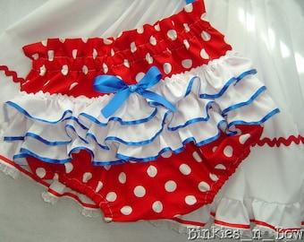Adult Baby Sissy Littles ABDL ~ Red Dot Rhumba Diaper Cover ~ Panty ~ Dress Up ~ Binkies n Bows