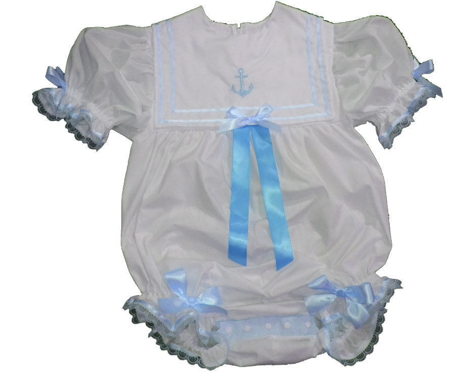 Adult Littles Baby Sissy Littles Adult abdl - Dress Up ~ BOOM BOOM Bubble Romper Blue Sailor ~ Binkies n Bows 0b34e2