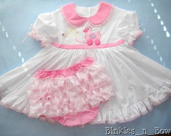 Adult Baby Sissy Littles ABDL ~ White Ducky Pull Toy Dress Set - Binkies n Bows