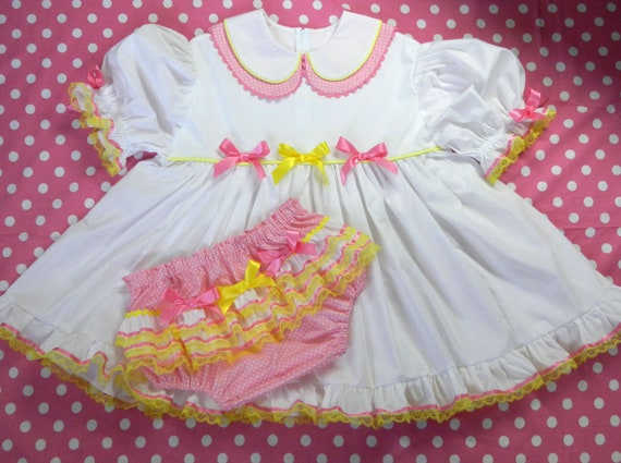 LAST ONE Adult Baby Sissy Little Bunny n Chick Dress Set PUL Lined Diaper Cover