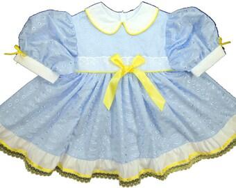 Adult Baby Sissy Littles ABDL ~ Blue Eyelet Dress ONLY ~ Binkies n Bows