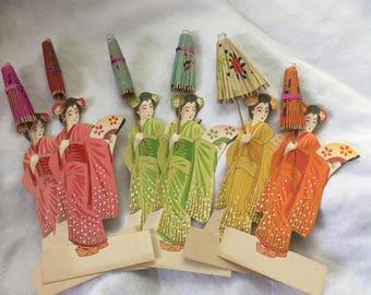 Place Cards, Rare 6 Vintage Geisha Place Cards Paper Umbrellas, emphemera , box H