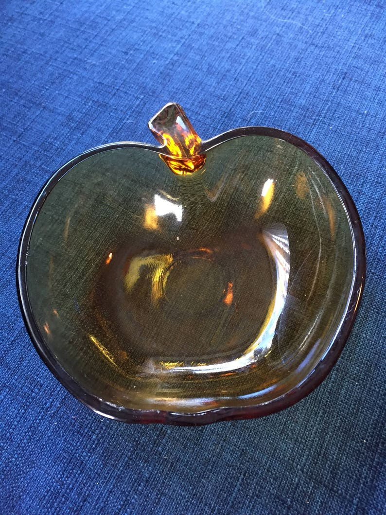 5x5 inches box C Small Serving or Candy Dish vintage amber glass Vintage apple Dish