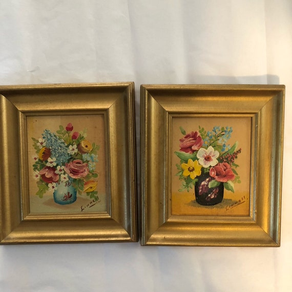 Vintage Oil Painting Flower Miniature Floral Golden Frame Art 1:12 Dollhouse New