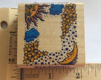 Rubber Stamp  wood mounted , Inkadinkado,sun, moon and stars, frame style