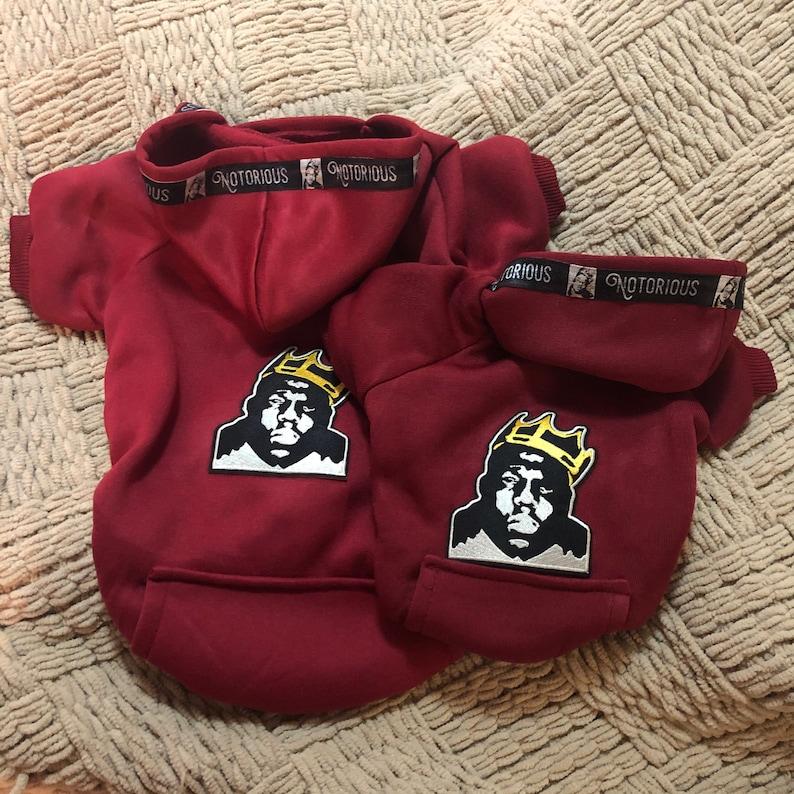 Notorious BIG biggie Smalls red crown king music hip hop ribbon luxe sweatshirt hoodie dog pet cat hooded sweats music billboard Medium rap