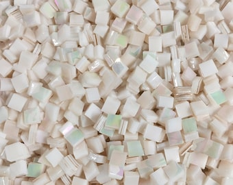 """250 Spectrum Pink Champagne Iridescent Stained Glass 1/4"""" Square Tiles Perfect For Any Mosaic Projects"""