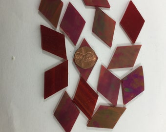 "30 Red Iridescent Mosaic Tile Diamonds Hand Cut From Spectrum Stained Glass, 7/8"" Each Side X 1"" 1/2"" Long, Perfect for Mosaic Art  Crafts"
