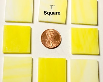 "25 1"" Square Daffodil Yellow Mosaic Tiles"