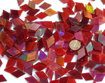 Red Iridescent Mosaic Tile Diamonds Hand Cut From Spectrum Stained Glass, Perfect for Mosaic Art  Crafts