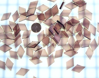 """50 Pale Purple Waterglass Mosaic Tile Small Diamonds, 5/8"""" X 1"""" Hand Cut Spectrum Stained Glass, Perfect for Mosaic Art Crafts"""