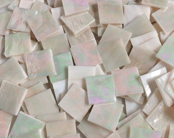 "60 Spectrum Pink Champagne Iridescent Stained Glass 1"" Tiles Perfect For Any Mosaic Projects"