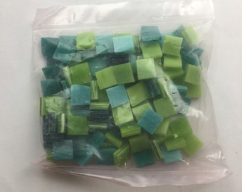 "100 3/8"" Square Teal and Lime Green Mosaic Tile Mix, Spectrum Stained Glass"