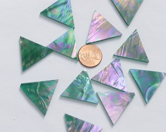 25 Teal Iridescent Mosaic Tile Triangles