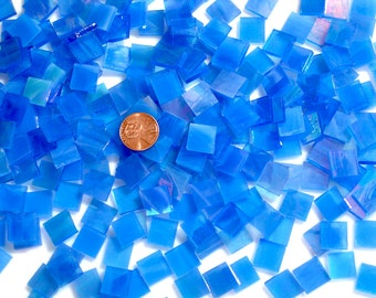 "Bright Blue Iridescent Mosaic Tile ""Tropical Azure"""