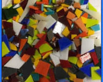 3 Pounds of COE 96 Scrap Stained Glass Mosaic Tile, Variety of Colors, Shapes and Sizes Uroborus & Spectrum Fusible Glass Great for Mosaics