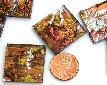 Van Gogh Copper Gold Silver Mosaic Tile