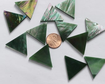 25 Emerald Green Iridescent Mosaic Tile Triangles