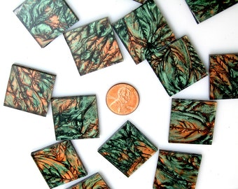 Van Gogh Green Copper Mosaic Tile 125 Big Diamonds