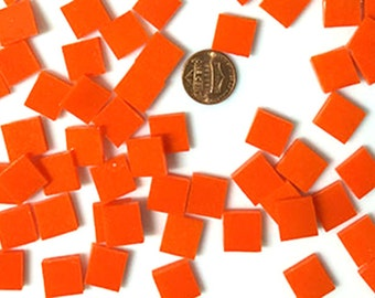 Orange Opal Mosaic Tile Hand Cut Spectrum System 96 Fusible Stained Glass, Choose From 3 Shapes & 12 Sizes, Perfect for Mosaic Art