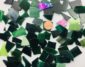 1 Pound of Tumbled Mixed Green Stained Glass Great for Mosaics or Jewelry, Various Random Shapes & Sizes With No Sharp Edges