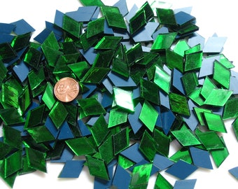 "50 Green Mirror Mosaic Tile Diamonds, 5/8"" X 1"", ""Emerald Ice"""